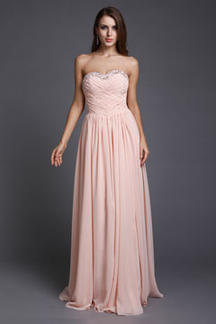 Strapless Cross Bodice Chiffon Floor Length Pink Prom Dress