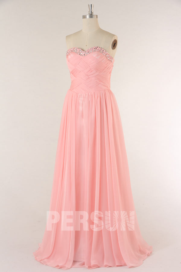 Prom Dress in Pink Tencel with Criss cross ruched bodice