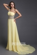 Elegant A line One Shoulder Empire Beading Chiffon Train Formal Dress