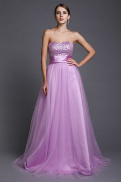 Strapless Tulle Sequins Floor Length Lace Up Purple Prom Dress