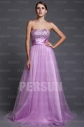 A Line Empire Boatneck Strapless Beading Ruched Tulle Long Prom Dress