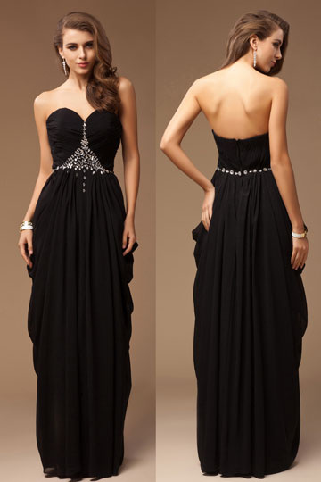 Dressesmall Sheath Empire Sweetheart Strapless Cross Beading Chiffon Long Formal Dress