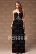 Sheath Empire Sweetheart Strapless Cross Beading Chiffon Long Formal Dress