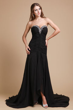 Court Train Strapless Chiffon Black Prom Dress UK