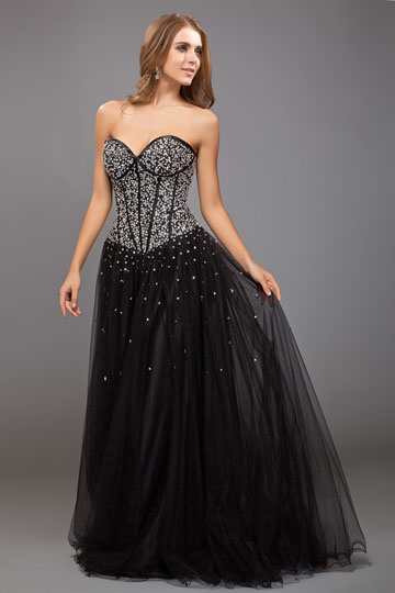beaded black prom dress