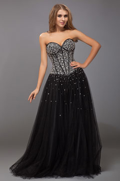 Sexy Sweetheart Strapless Tulle Long Black Prom Dress