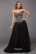 Sexy A line Sweetheart Strapless Boning Beading Tulle Long School Formal Dress