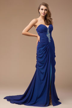Sexy Strapless Beading Ruched Blue Chiffon Long Formal Dress