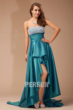 Strapless Applique Taffeta High low Green Prom Gown