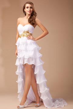 Vestido Blanco de Fiesta de Gasa Apliques con Cola Escote Corazón