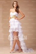 A line Empire Sweetheart Strapless Ruffle Applique Chiffon High low Cocktail Dress