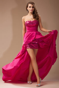 Strapless Sequins Taffeta High low Fuchsia Prom Dress Cheap