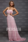 A Line Empire Sweetheart Strapless Beading Crystal Detailing Ruched Long Formal Dress