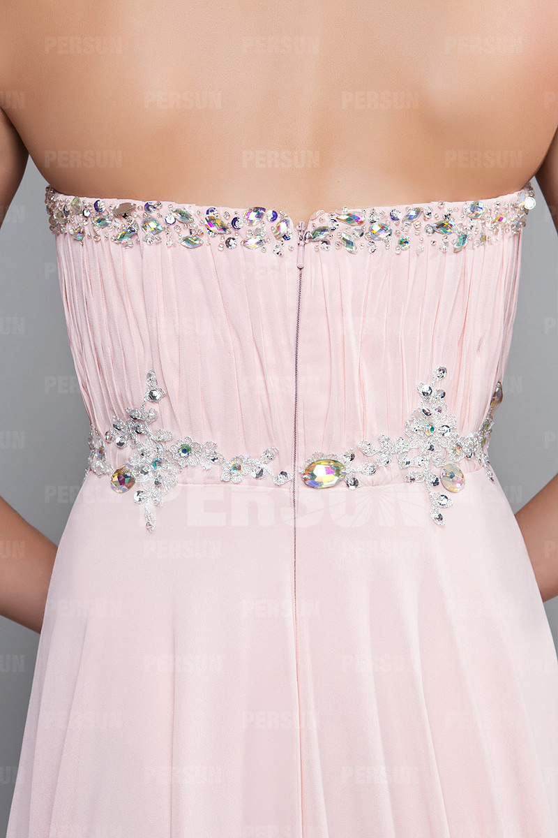 Robe rose longue empire bustier plissée ornée de strass