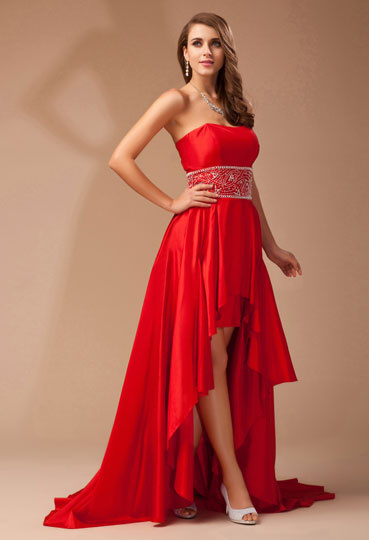 Dressesmall Simple A Line Empire Strapless Patten Beading Taffeta High Low Formal Dress