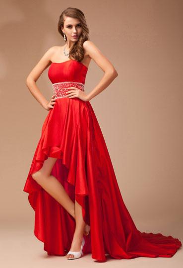 robe bal rouge empire courte devant longue derri re. Black Bedroom Furniture Sets. Home Design Ideas