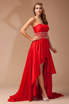 Strapless Taffta High low Empire Red Prom Gown UK