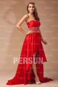 Simple A Line Empire Strapless Patten Beading Taffeta High Low Formal Dress