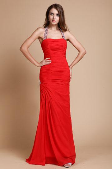 Vestido de noite vermelho simple com alça comprimento Assoalho comprimento bainha