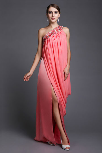 Sheath One Shoulder Beading Pleats Side slip India Sytle Chiffon Long Homecoming Dress