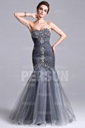 Mermaid Sweetheart Strapless Crystal Detailing Ruched Tulle Long Formal Dress