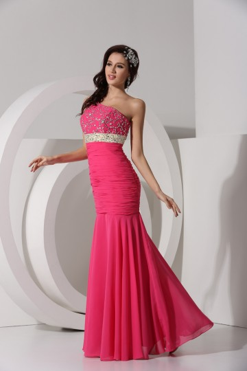 Dressesmall Mermaid One Shoulder Beading Ruched Chiffon Long Formal Dress
