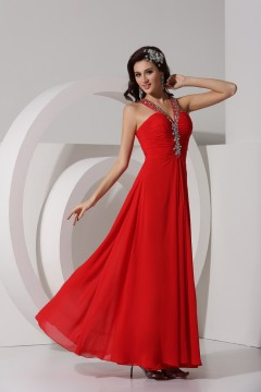 Ruched V neck Strapless Rhinestone Chiffon Long Red Prom Dress