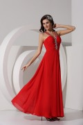 A Line Empire V Neck Strapless Beading Ruched Chiffon Long Prom Dress