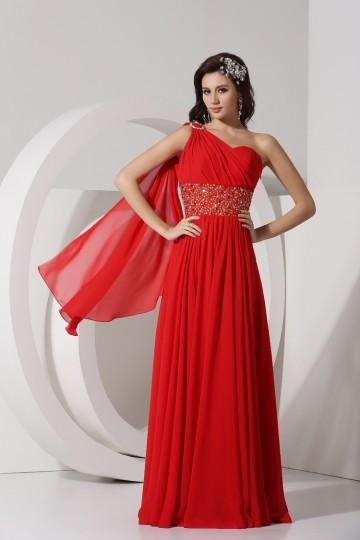 Vestido Largo Rojo de Fieta Cinturón de Estilo Wantteau Solo Hombro