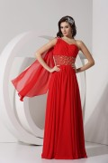 A Line Empire One Shoulder Beading Ruched Watteau Style Streamers Chiffon Long Prom Dress
