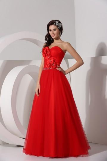 Vestido de baile vermelho Império Sem alça decorado de flor feita à mão