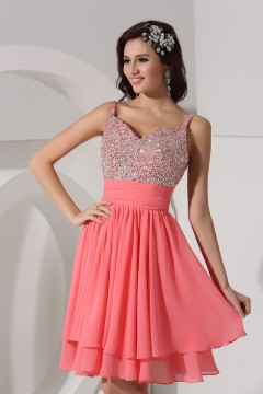 A line Empire Spaghetti Beading Ruched Chiffon Short Formal Dress