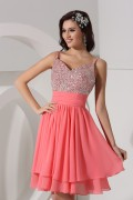 A Line Empire Spaghetti Beading Ruched Chiffon Short Homecoming Dress