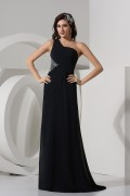 A line One Shoulder Backless Ruched Beading Chiffon Long School Formal Dress