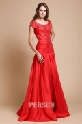 A Line Round Ruching Short Sleeve Taffeta Long Prom Dress