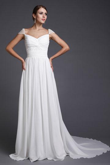 Vestido branco longo de noite decote em coração Império com manga pequena