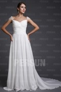 A line Empire Squar Neck Cap Sleeve Ruching Chiffon Train Formal Dress