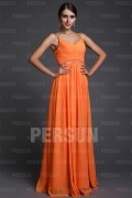 A line Empire Spaghetti V neck Ruching Chiffon Long Formal Dress