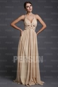 A line V neck Hollow Woven Ruching Chiffon Long Formal Dress