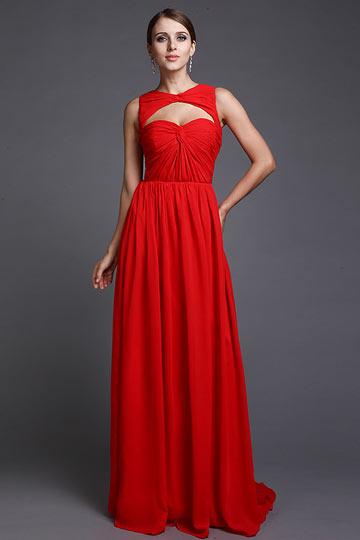 Robe soirée rouge découpée avec plis fait-main longue sol