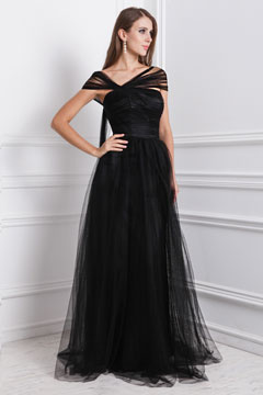 A line Empire Tilted V neck Cap Sleeve Ruching Tulle School Formal Dress