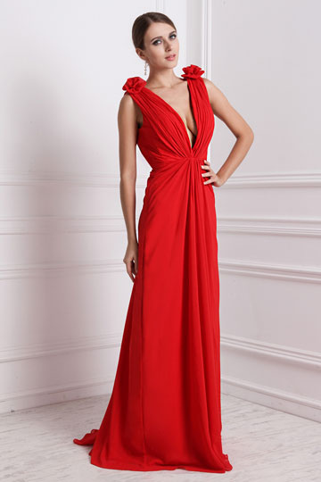 Long Deep V Neck Sexy Chiffon Dress For Wedding Party