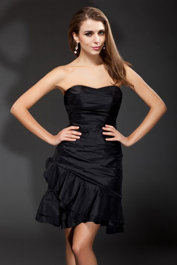 Dressesmall Elegant Boat neck Strapless Ruffle Taffeta Short Cocktail Dress