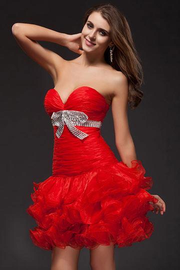 Vestido de Cóctel Corto Sexy Rojo de Organza Lazos con Lentejuelas Escote V