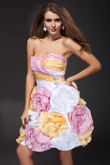 Dressesmall Sexy A line Sweetheart pleated Colorful Taffeta Short Cocktail ball Dress