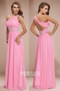 Chiffon Sexy One Shoulder Pink Beading Empire Long School Formal Dress