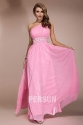 Chiffon Sexy One Shoulder Pink Beading Empire Long School Formal Dress