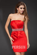Sheath Strapless Beaded Belt Ruching Elastic Woven Satin Short Cocktail Dress