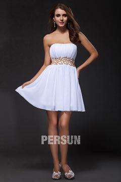 Strapless Pleats Short Chiffon White Cheap Prom Dress