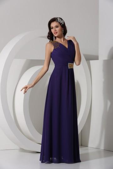 Dressesmall A line Empire Sequins Beaded Pleats Chiffon Long Formal Dress